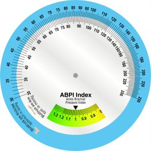 """ABPI Scheibe ABPI = Ankle Brachial Pressure Index* Der ABPI gibt Hinweise auf die periphere arterielle Verschlusskrankheit (PAVK), oft kann er auch als Indikator für die generelle Arteriosklerose eingesetzt werden. Der ABPI ist ein wichtiges Kriterium für die """"Dosis"""" des Kompressionsdrucks. *Alternative Bezeichnungen: CBQ cruro-brachialer Quotient, BAI Bein-Arm-Index und ABI ankle-brachial-indexöglich."""