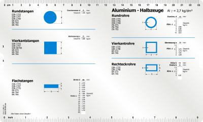 Aluminium Datenschieber Vorderseite Datenschieber für die Gewichstermittlung von Aluminium Halbzeugen Rundstangen, Vierkantstangen, Flachstangen, Rundrohre, Vierkantrohre, Rechteckrohre