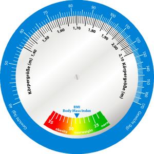 BMI Scheibe groß bis 170kg Vorderseite Rechenscheibe zur Ermittung des Body-Mass Index für Personen bis 170 kg Körpergewicht (Große Ausführung)