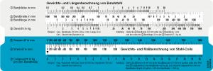 Bandstahl und Härtevergleich Schieber Vorderseite Gewichts- und Längenberechnung von Bandstahl und Stahlcoils