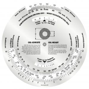 Coil Scheibe - Rechenscheibe zur Gewichtsberechnung von Stahlcoils