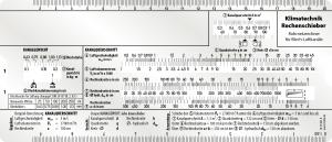 Klimatechnik Rechenschieber für Blech-Luftkanäle Rechenschieber für die Auslegung von Lüftungsanlagen Berechnung des Kanalgewichtes, Kanalquerschnitts, Rohrreibung und des Druckverlustes sowie für die Wärme- und Ventilatorauslegung.