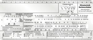 Klimatechik Rechenschieber für Kunststoff-Luftkanäle Rechenschieber für die Auslegung von Lüftungsanlagen Berechnung des Kanalgewichtes, Kanalquerschnitts, Rohrreibung und des Druckverlustes sowie für die Wärme- und Ventilatorauslegung.