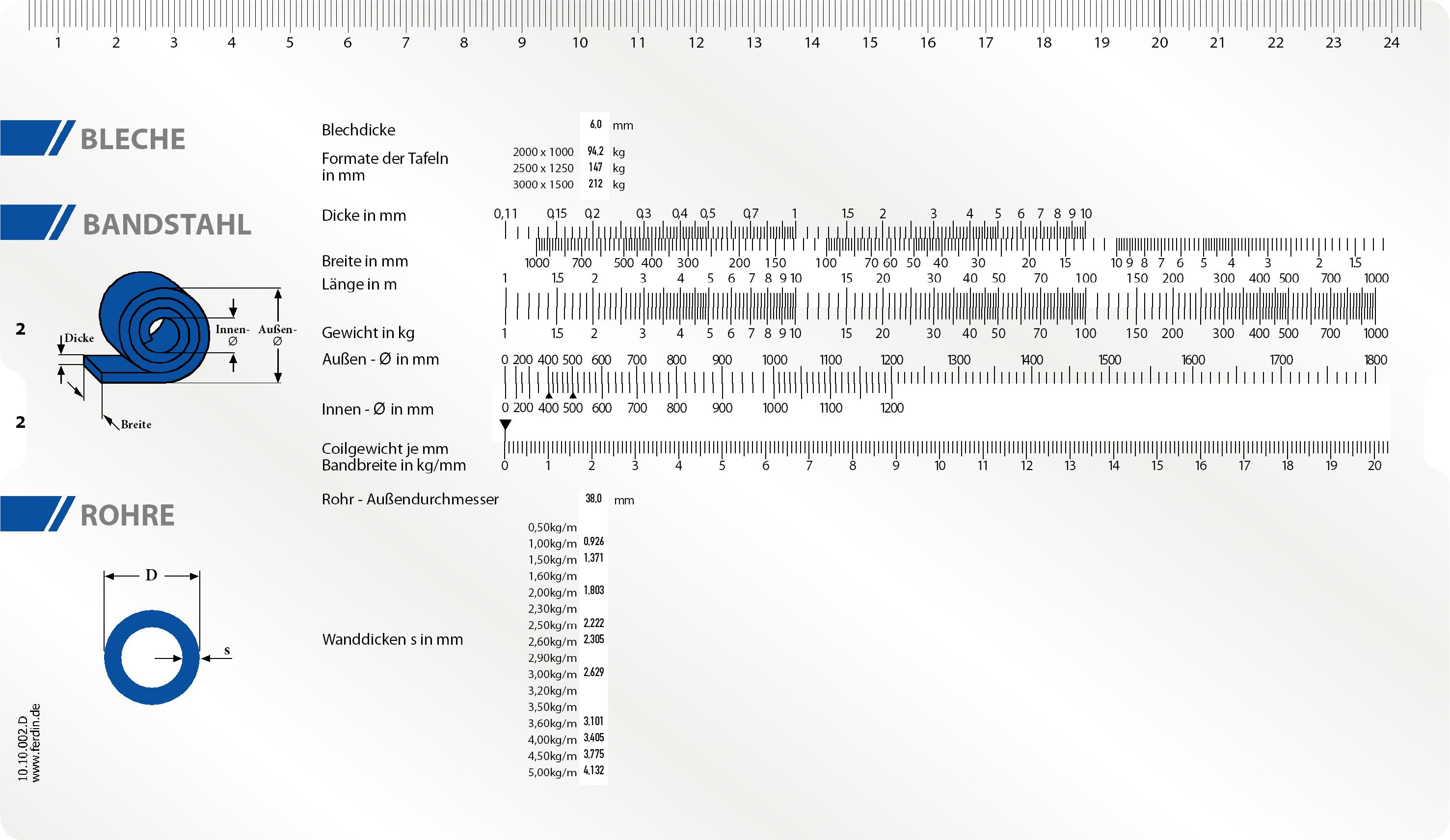 Stab- und Bandstahl Schieber Datenschieber für die Gewichstermittlung von Stahlprofilen Stahlcoils, Bleche, Rohre