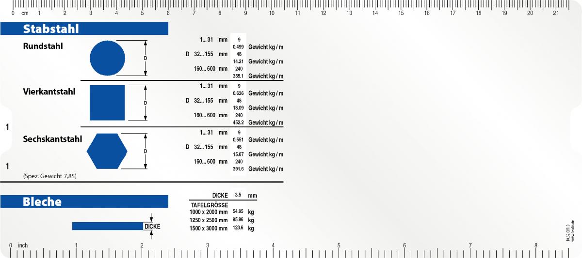 Stabstahl Datenschieber für die Gewichstermittlung von Stabstählen