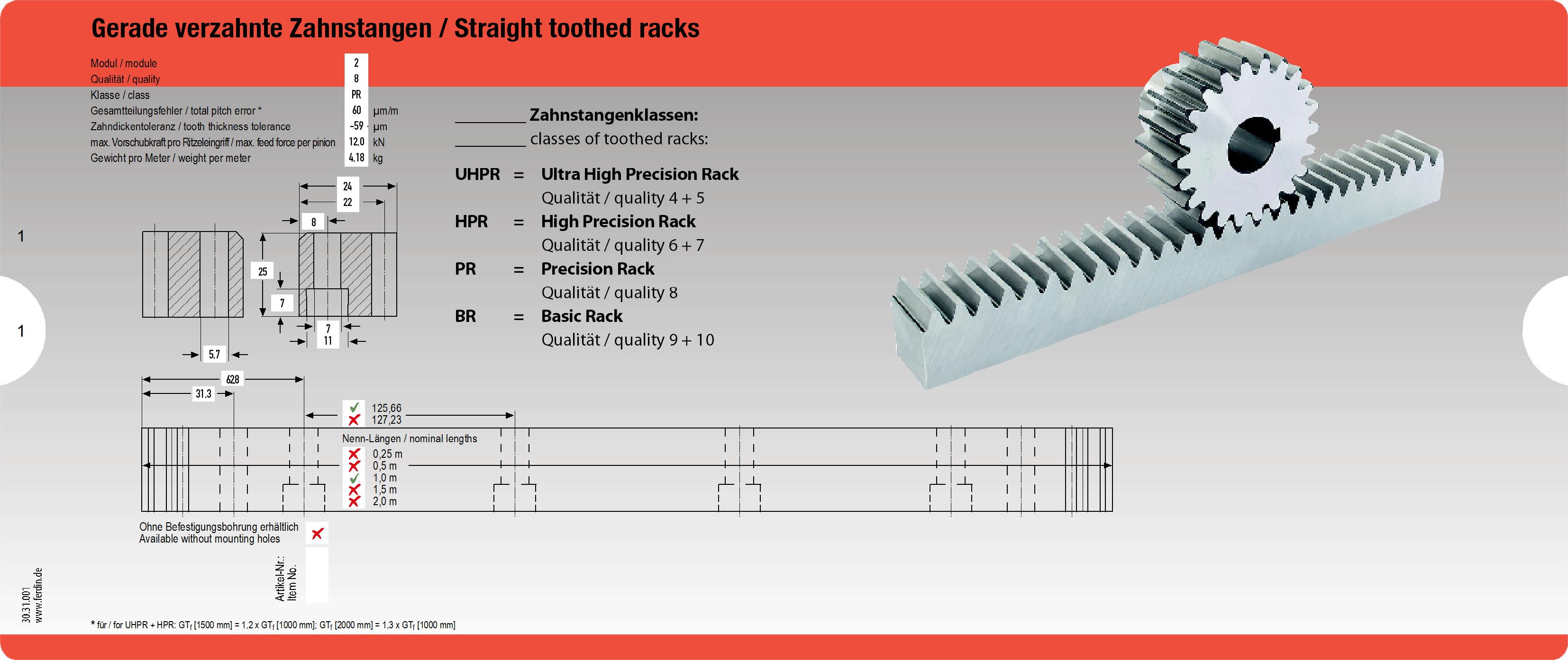 Datenschieber für Gerade Zahnstangen - Datenschieber für die Produktauswahl von geraden und schrägen Zahnstangen