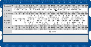 Schnittgeschwindigkeit Maschinenleistung Vorderseite - Rechenschieber für die Ermittlung von Schnittgeschwindigkeiten und Maschinenleistungen beim Bohren, Drehen und Fräsen